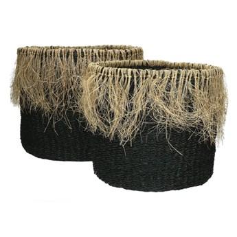 Zestaw 2 czarne kosze Raffa z trawy morskiej POMAX