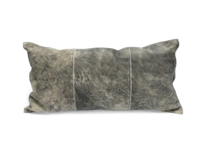 Szara prostokątna poduszka dekoracyjna ze skóry zamsz 30x60 BAZAR BIZAR