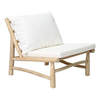 Fotel ogrodowy Island z drewna tekowego z białymi poduszkami BAZAR BIZAR