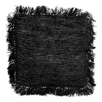Duża czarna poduszka dekoracyjna z rafii Square 60x60 BAZAR BIZAR