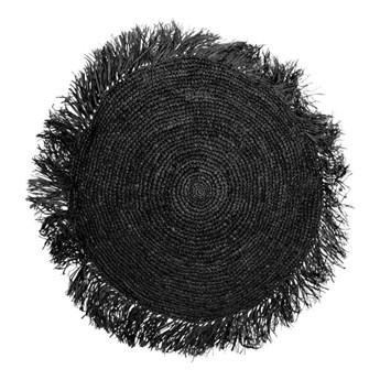 Duża czarna okrągła poduszka dekoracyjna z rafii Round 60 BAZAR BIZAR