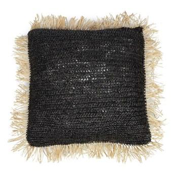 Czarna poduszka dekoracyjna z rafii Square 60x60 z naturalnymi frędzlami BAZAR BIZAR
