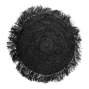 Czarna okrągła poduszka dekoracyjna z rafii Round 40 BAZAR BIZAR