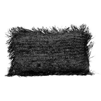 Czarna poduszka dekoracyjna z rafii Rectangular 30x50 BAZAR BIZAR