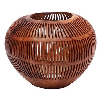 Brązowy świecznik Coconut Stripe Long z orzecha kokosowego BAZAR BIZAR