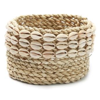 Koszyczek Weaved Cowrie z trawy morskiej i muszli BAZAR BIZAR