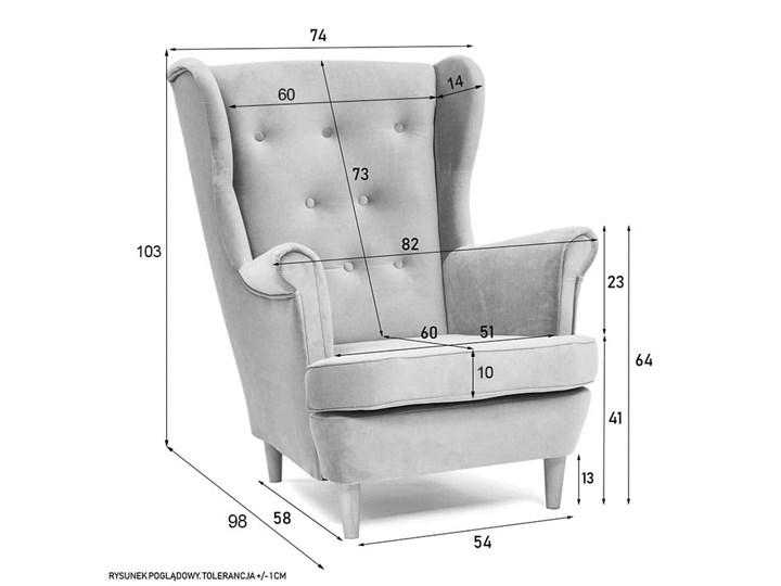 Fotel z podnóżkiem USZAK 3 / kolory do wyboru Wysokość 103 cm Fotel uszak Drewno Szerokość 74 cm Pomieszczenie Salon