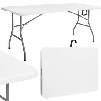 Stół składany cateringowy 180 cm bankietowy stolik ogrodowy, turystyczny walizka biały