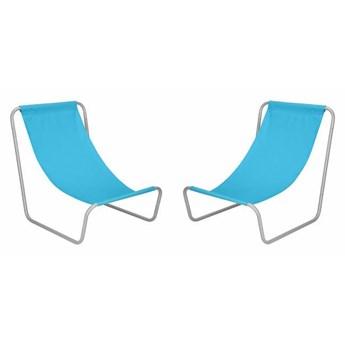 Leżak ogrodowy 2 szt. metalowy fotel składany, leżanka niebieska