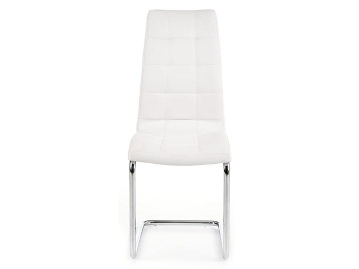 Krzesło K147 białe HALMAR Tworzywo sztuczne Metal Tkanina Tapicerowane Stal Kolor Srebrny