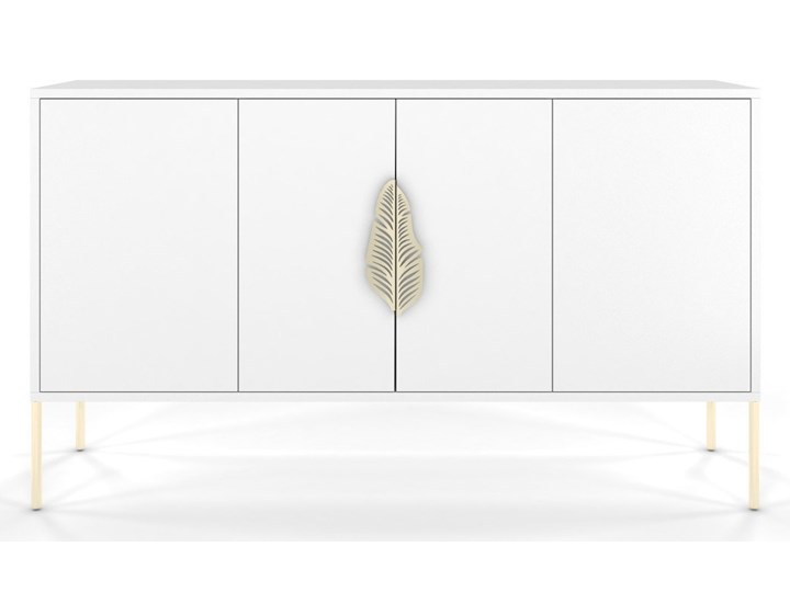 Biała komoda Skandica MERLIN ze złotymi dodatkami Wysokość 79 cm Głębokość 40 cm Płyta MDF Szerokość 138 cm Styl Minimalistyczny