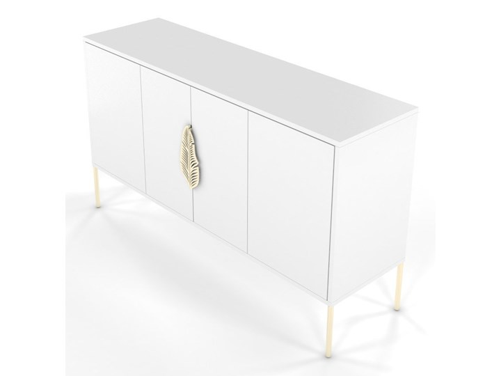 Biała komoda Skandica MERLIN ze złotymi dodatkami Szerokość 138 cm Wysokość 79 cm Płyta MDF Kolor Biały Głębokość 40 cm Styl Minimalistyczny