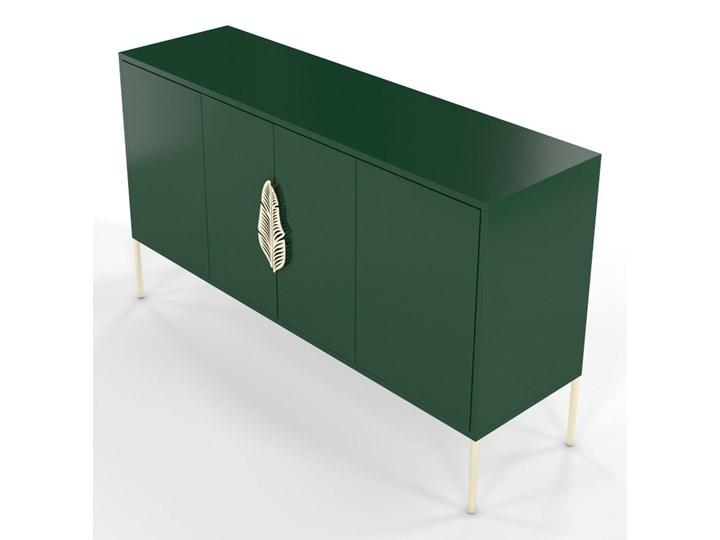 Zielona komoda Skandica MERLIN ze złotymi dodatkami Płyta MDF Styl Minimalistyczny Wysokość 79 cm Szerokość 138 cm Głębokość 40 cm Kolor Zielony