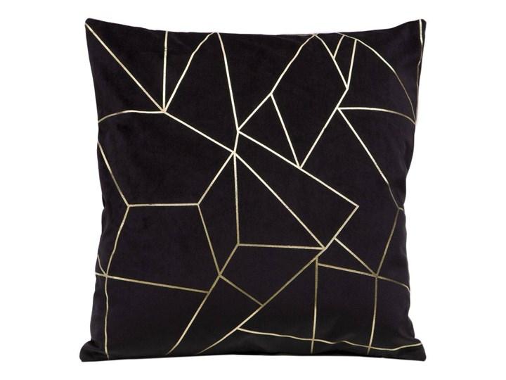 Poszewka na poduszkę czarna zdobiona lśniącym nadrukiem w rozmiarze 45x45 z miękkiej tkaniny velvet