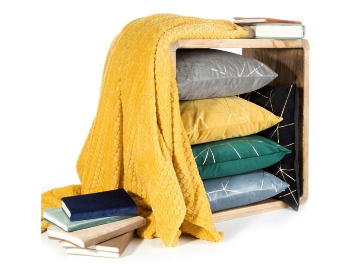 Poszewka na poduszkę musztardowa zdobiona lśniącym nadrukiem w rozmiarze 45x45 z miękkiej tkaniny velvet Poszewka dekoracyjna 45x45 cm Poliester Wzór Geometryczny