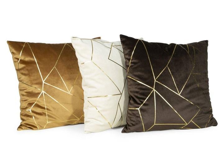 Poszewka na poduszkę musztardowa zdobiona lśniącym nadrukiem w rozmiarze 45x45 z miękkiej tkaniny velvet Poliester Poszewka dekoracyjna 45x45 cm Wzór Geometryczny