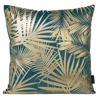 Poszewka na poduszkę turkusowa zdobiona złotym nadrukiem w rozmiarze 45x45 z miękkiej tkaniny velvet