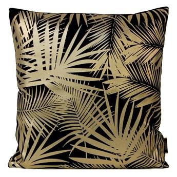 Poszewka na poduszkę czarna zdobiona złotym nadrukiem w rozmiarze 45x45 z miękkiej tkaniny velvet