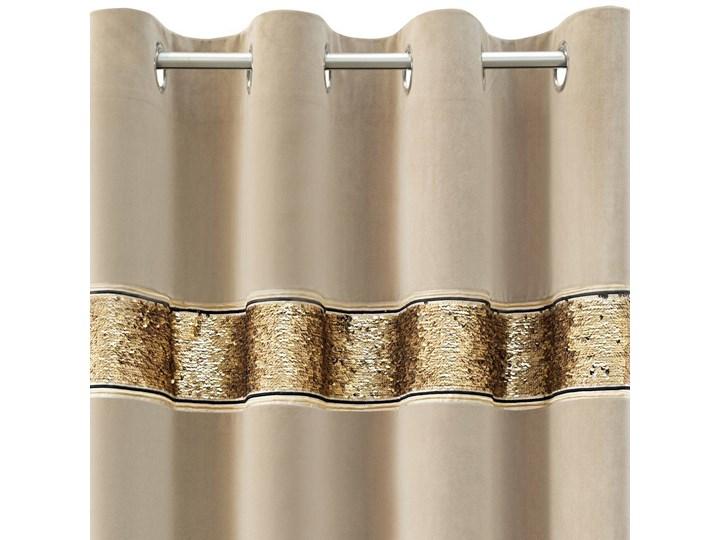 Zasłona gotowa welwet Bueno beżowa zdobiona cekinami 140x250 na przelotkach, kółkach, glamour Poliester Typ Zasłony gotowe 140x250 cm Kolor Beżowy