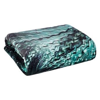 Koc pluszowy 150x200 Alli super miękki koc flano, kolor czarny turkusowy, z fantazyjnym nadrukiem 3D