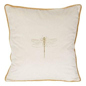 Poszewka na poduszkę kremowa zdobiona złotym nadrukiem w rozmiarze 45x45 z miękkiej tkaniny velvet ważka