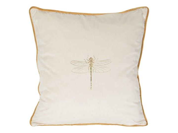 Poszewka na poduszkę kremowa zdobiona złotym nadrukiem w rozmiarze 45x45 z miękkiej tkaniny velvet ważka Poszewka dekoracyjna Poliester 45x45 cm Pomieszczenie Salon