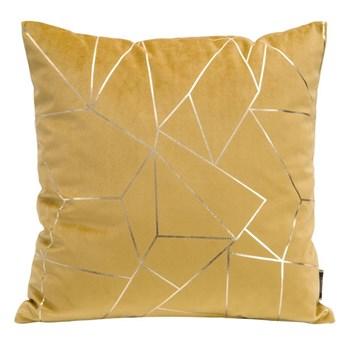 Poszewka na poduszkę musztardowa zdobiona lśniącym nadrukiem w rozmiarze 45x45 z miękkiej tkaniny velvet