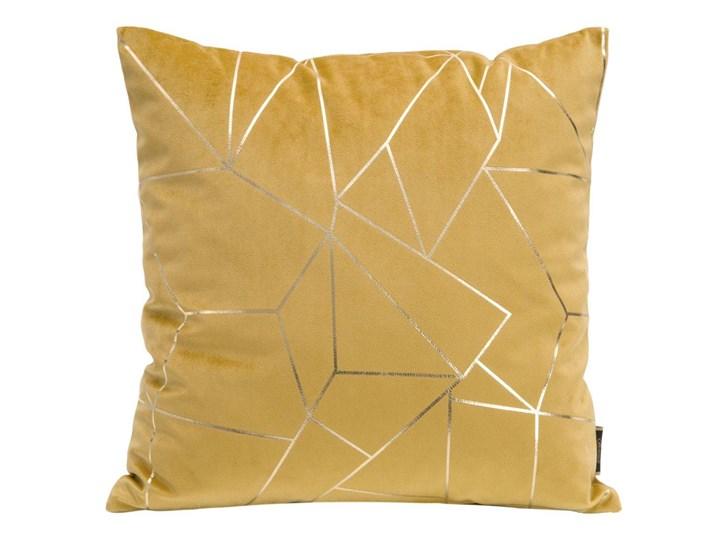 Poszewka na poduszkę musztardowa zdobiona lśniącym nadrukiem w rozmiarze 45x45 z miękkiej tkaniny ve ...