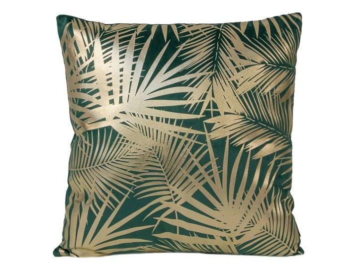 Poszewka na poduszkę zielona zdobiona złotym nadrukiem w rozmiarze 45x45 z miękkiej tkaniny velvet Poszewka dekoracyjna Kolor Zielony 45x45 cm Poliester Pomieszczenie Sypialnia