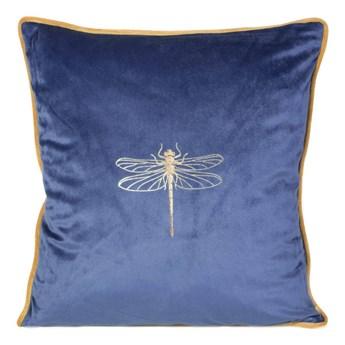 Poszewka na poduszkę granatowa zdobiona złotym nadrukiem w rozmiarze 45x45 z miękkiej tkaniny velvet ważka