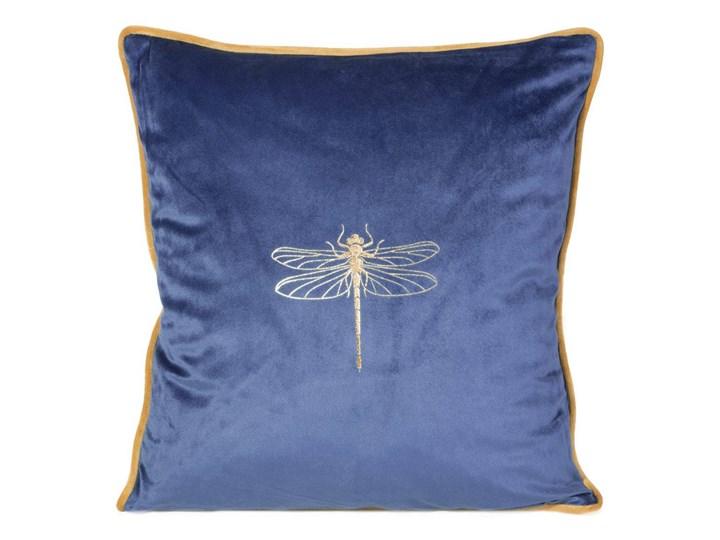 Poszewka na poduszkę granatowa zdobiona złotym nadrukiem w rozmiarze 45x45 z miękkiej tkaniny velvet ...