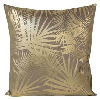 Poszewka na poduszkę beżowa zdobiona złotym nadrukiem w rozmiarze 45x45 z miękkiej tkaniny velvet