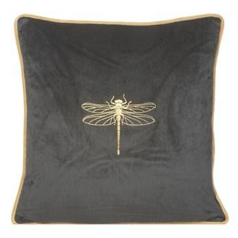 Poszewka na poduszkę czarna zdobiona złotym nadrukiem w rozmiarze 45x45 z miękkiej tkaniny velvet ważka