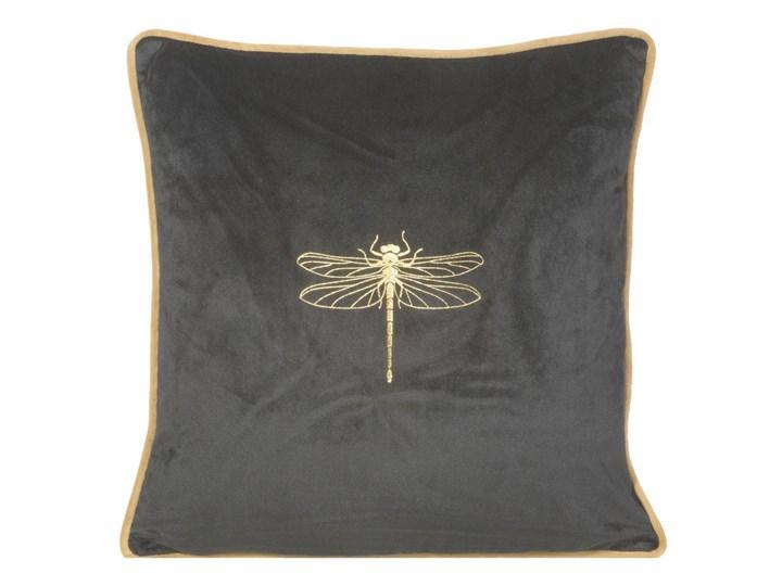 Poszewka na poduszkę czarna zdobiona złotym nadrukiem w rozmiarze 45x45 z miękkiej tkaniny velvet ważka Poszewka dekoracyjna Poliester Kolor Czarny 45x45 cm Wzór Z nadrukiem
