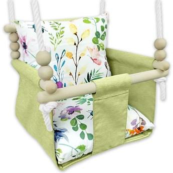 Drewniana huśtawka dla dziecka kwiaty - Glofi