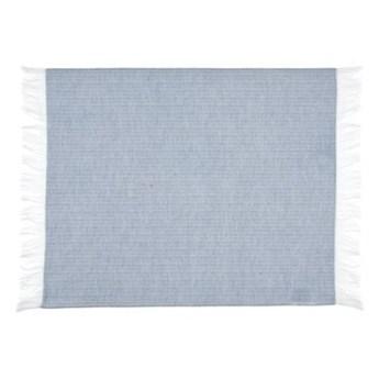 Podkładka prostokątna z frędzlami DUKA RIVIERA 50x36 cm niebieska biała bawełna