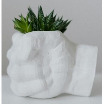 Doniczka ozdobna Pięść ekologiczny gips ceramiczny (Kolor: Biały)