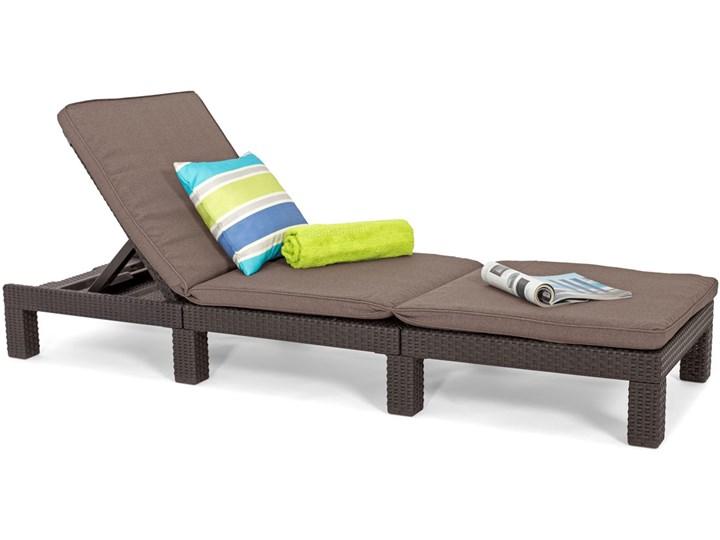 Komplet 2 szt. leżaków basenowych DAYTONA - brązowe Leżanki Kolor Brązowy Tworzywo sztuczne Kategoria Leżaki ogrodowe