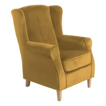 Musztardowy fotel uszak Max Winzer Lorris Velour Corn