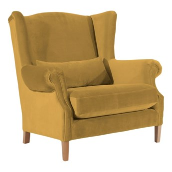 Aksamitny fotel w kolorze musztardowym Max Winzer Harvey Velvet