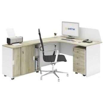 Zestaw mebli biurowych MIRELLI A+, typ F, biały/dąb sonoma