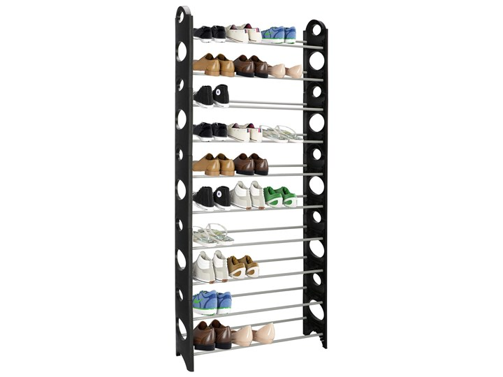 Szafka na buty z metalowymi 10 półkami regał czarno-szary