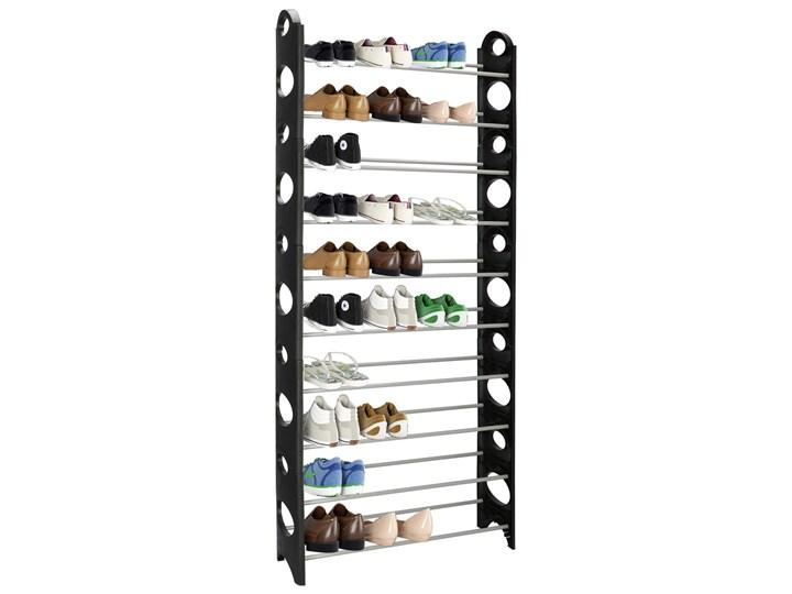 Szafka na buty z metalowymi 10 półkami regał czarno-szary Pomieszczenie Przedpokój Kolor Czarny
