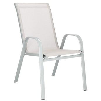 Krzesło ogrodowe stalowe na balkon, tarasowe kremowe