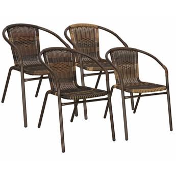 Krzesło ogrodowe 4 szt. plecione brązowe na taras metalowe zestaw mix