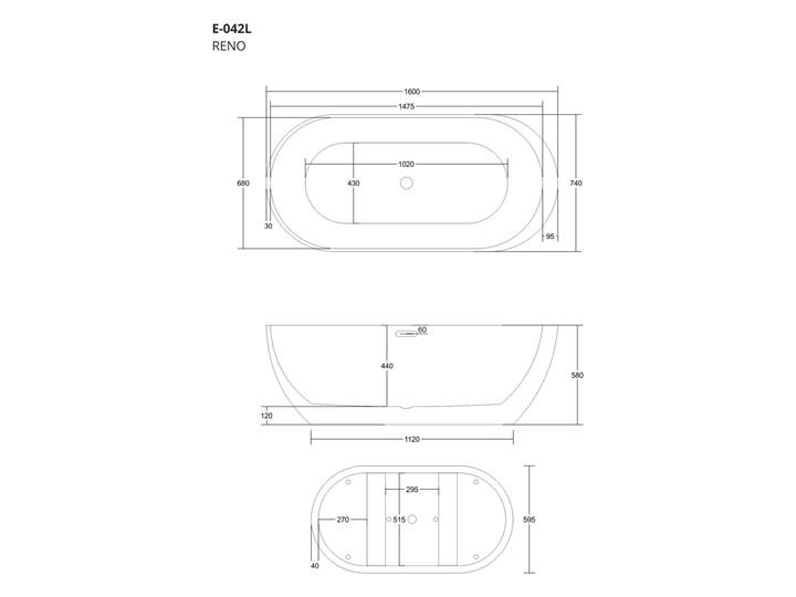Wanna wolnostojąca Corsan E042 Reno 170 cm Długość 160 cm Stal Akryl Wolnostojące Kategoria Wanny