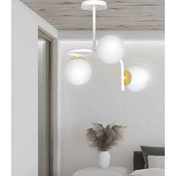 RAGNAR 3 WHITE 1033/3 nowoczesna lampa sufitowa biała szklane klosze