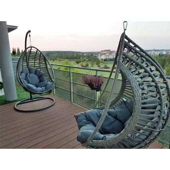 Fotel wiszący szary technorattan  Bellissimo - huśtawka ogrodowa