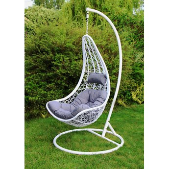 Zagłówek - Fotel wiszący, bujany - huśtawka ogrodowa - kokon / kosz rattanowy