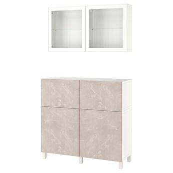 IKEA BESTÅ Kombinacja regałowa z drzw/szuf, Biały Bergsviken/Stubbarp/beżowy imitacja marmuru, 120x42x213 cm